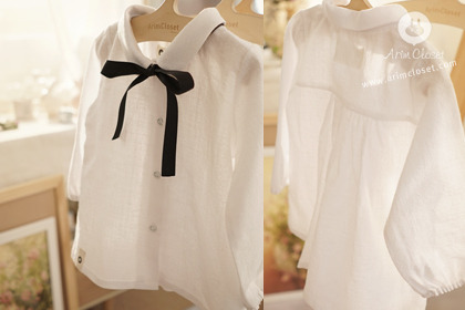 [3차제작] 이른 아침햇살 그리고 너 - cute white baby kara black ribbon pure blouse