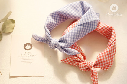 솜사탕처럼 달콤한 러브시나리오 -  orange red check & violet blue check petit scarf