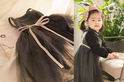 지금은, 그녀만 이쁜 시간이래요 :) - lovely gray beige ribbon point cotton baby dress