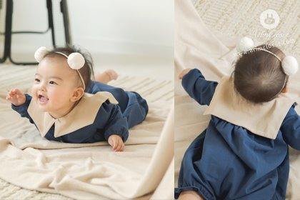 [2차제작]아가에게 반할까, 반해버릴까 ?! - beige sailor romantic blue all open cotton baby bodysuit