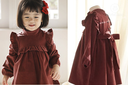 [2차제작]그녀, 내맘에 들어오던 날 - corduroy marsala baby big ribbon romantic dress