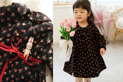 내 마음, 그녀 때문에 두근두근 - red flower red ribbon 1oz winter black cotton baby dress