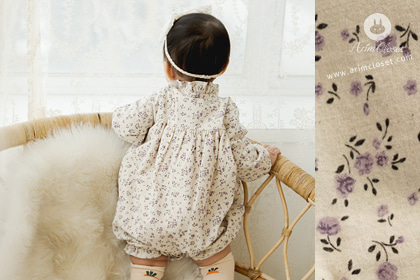갖고싶은 우리 아가의 따스한 시간 - violet flower lovely baby winter cotton bodysuit