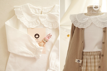 [XL :: SPECIAL SIZE] 쪼꼬미 마음, 오늘은 살랑살랑 :) - lovely lace baby cotton pure blouse