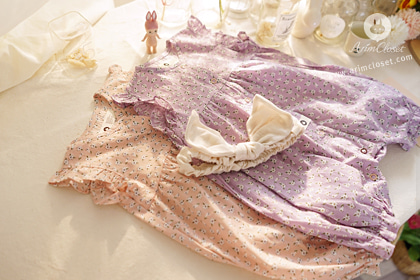 까꿍, 꽃송이보다 우리 아가가 더 귀욥지 - baby pink & violet baby flower all open cotton baby body suit