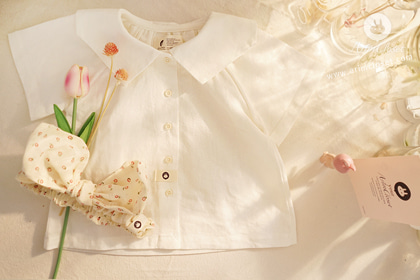 쪼꼬미라서 더 귀여운 오늘 ! - linen cotton baby pure sailor baby blouse
