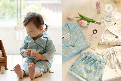 쪼꼬미는 호캉스 떠나요 ㅎㅎ - light blue & white flower cotton pajamas set
