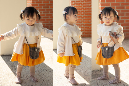 사랑스럽게 귀엽던 날의 쪼꼬미 - deep yellow corduroy baby romantic cotton skirt