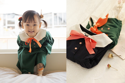 [other design sale] 언니야 따라 유치원 가고 싶데요 >.< - cute sailor navy and green cotton dress