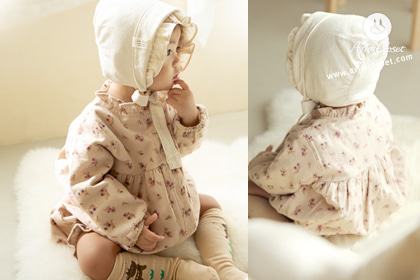 아가에게 퐁당 빠져버린 내 마음 :) - light cocoa small flowers baby winter 1oz bodysuit