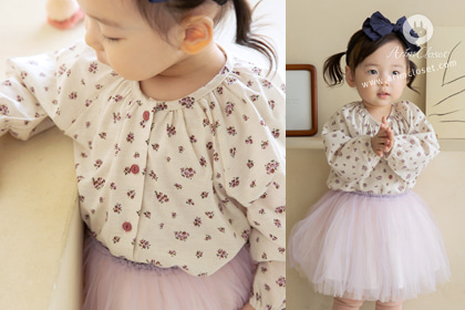 라벤더 향기나는 귀욤진 쪼꼬미 -violet flower baby cotton cardigan or blouse