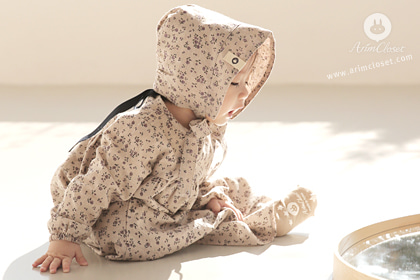 [15차제작] 갖고싶은 그녀 - violet flower beige cotton baby dress