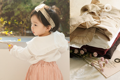 오늘 넘나넘나 분위기 있잖아?! - lovely collar 4color cotton baby blouse (couple item with adult)