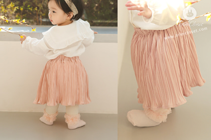 살랑살랑 따스한 바람, 봄날의 쪼꼬미 - lovely pink pleats baby skirt (couple item with adult)