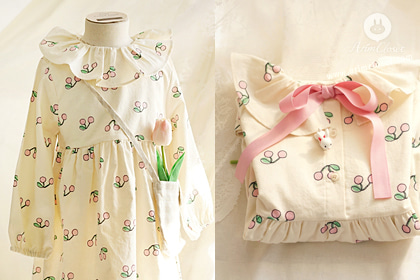 [2차제작] 까꿍~귀여운 아기 체리야 -so cute cherry frill collar baby cotton dress