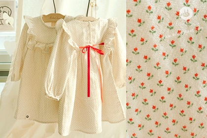 아가꽃들 보고 쪼꼬미 마음 두근해 - red small tulip lovely red ribbon cotton dress