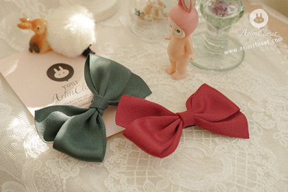 [11차제작] 인형같은 너에게... - dark green & dark red ribbon hair pin