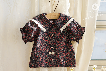 쪼꼬미에게 라즈베리 향기가 솔솔~ - small red flower cute lace navy cotton baby sailor blouse